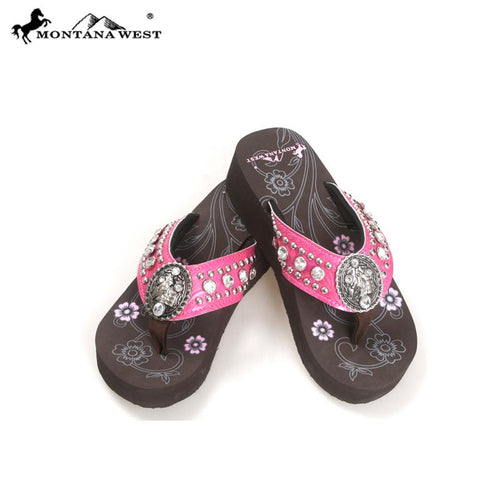 NT-S086 Montana West Concho Flip Flops Collection By Size