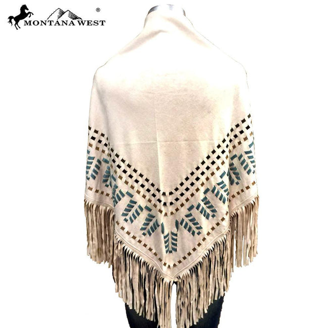 PCH-1614 Montana West Suede-Feel Fringe Poncho
