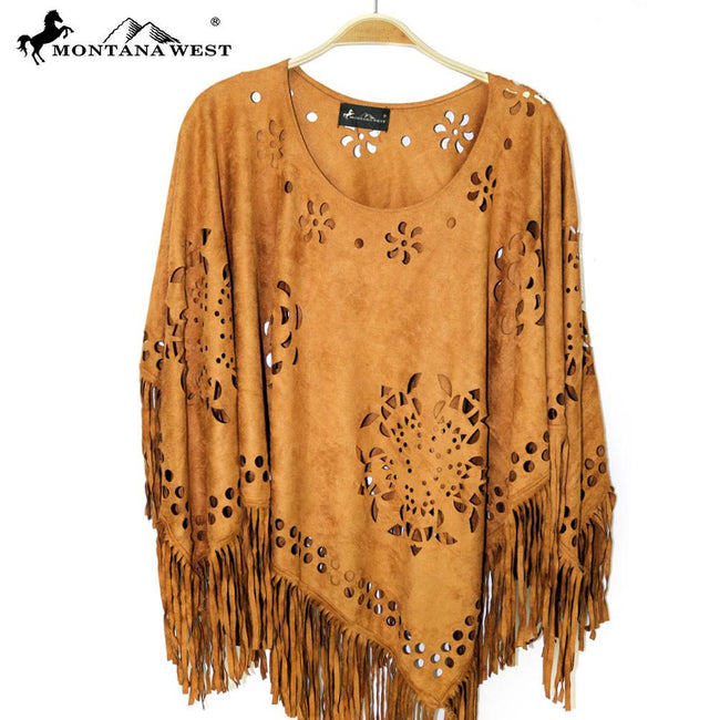 PCH-1615 Montana West Suede-Feel Laser-Cut Geometric Design Poncho