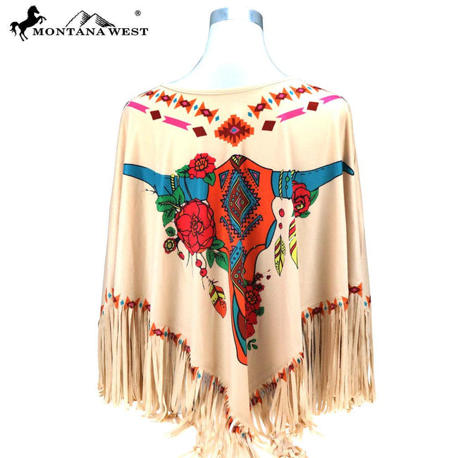 PCH-1680 Montana West Steer Skull Collection Poncho