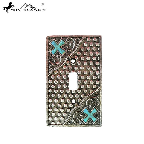 RSM-1668 Montana West Western Stud and Cross Design Single Switch Plate by Piece