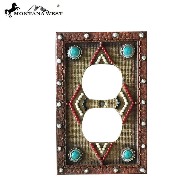 RSM-1890 Montana West Leather-Like Aztec Design Double Switch Plate Cover by Piece