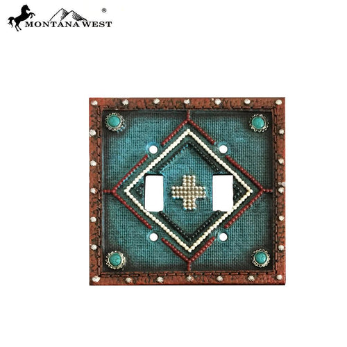 RSM-1891 Montana West Leather-Like Aztec Design Turquoise Color Double Switch Plate Cover By Piece