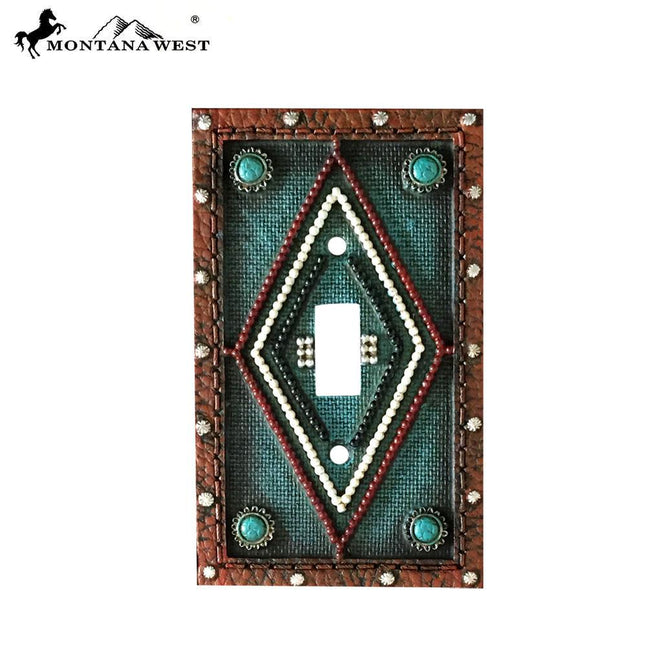 RSM-1892 Montana West Leather Like Aztec Design Turquoise Color Single Switch Plate Cover by Piece