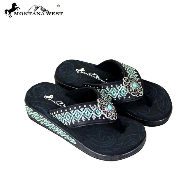 SE69-S152 Montana West Aztec Flip-Flops Collection