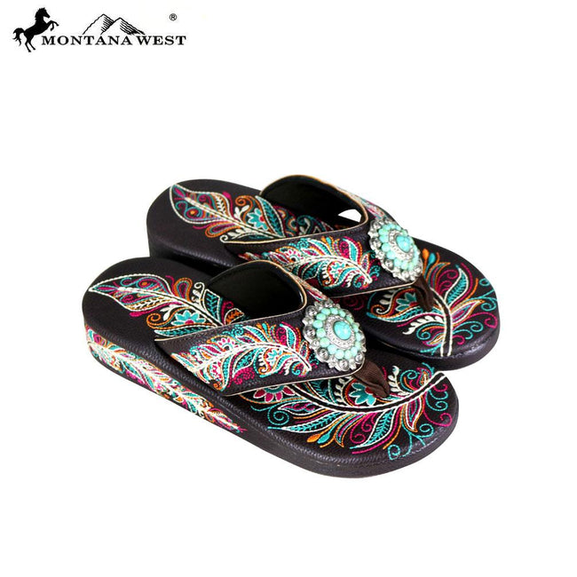 ead177fa7c850b SF06-S096 Montana West Fun Novelty Embroidered Collection Flip Flops