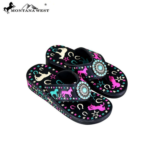 SF07-S144 Montana West Fun Novelty Embroidered Collection Flip Flops