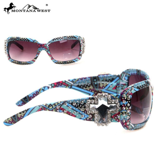 SGS-22B Montana West Spiritual Concho With Aztec Print Sunglasses