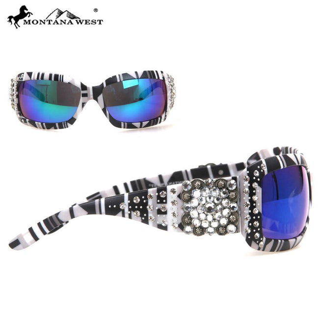 SGS-30C Montana West Spiritual Concho With Aztec Print Sunglasses