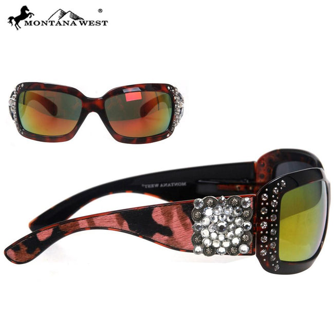 SGS-23C Montana West Square Concho Cowhide Collection Sunglasses