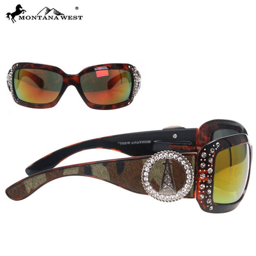 SGS-23D Montana West Oil Derrick Concho Cowhide Collection Sunglasses