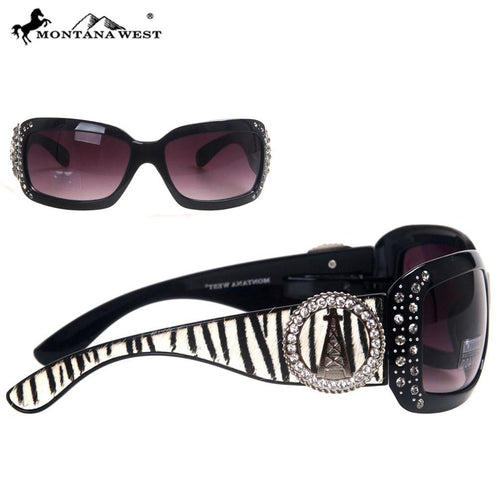 SGS-25C Montana West Oil Derrick Concho Zebra Collection Sunglasses