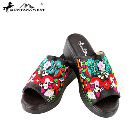 7ec5afd17e23a5 SH-019 Montana West Embroidery Collection Western Wedge Sandal Collection  BY CASE