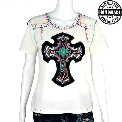 ST-606  Hand Embroidered Cross T-Shirt Collection
