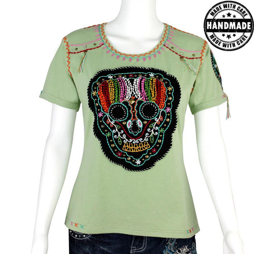 ST-608 Hand Embroidered Sugar Skull Collection T-shirt