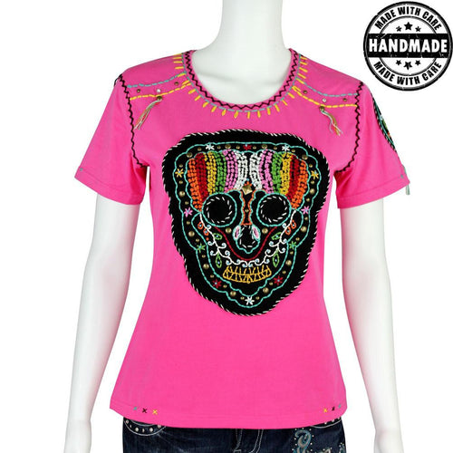 ST-608  Hand Embroidered Sugar Skull Collection Tshirt