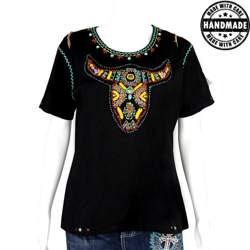 ST-609  Hand Embroidered Bull Skull Collection Tshirt
