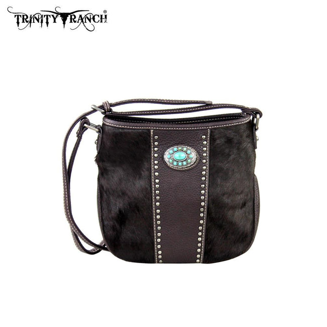 TR17-8360 Trinity Ranch Hair-on Leather Collection Messenger Bag