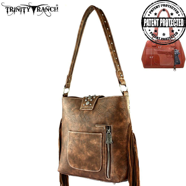 TR35G-121 Trinity Ranch Tooled Hair-On Leather Concealed Handgun Collection Handbag