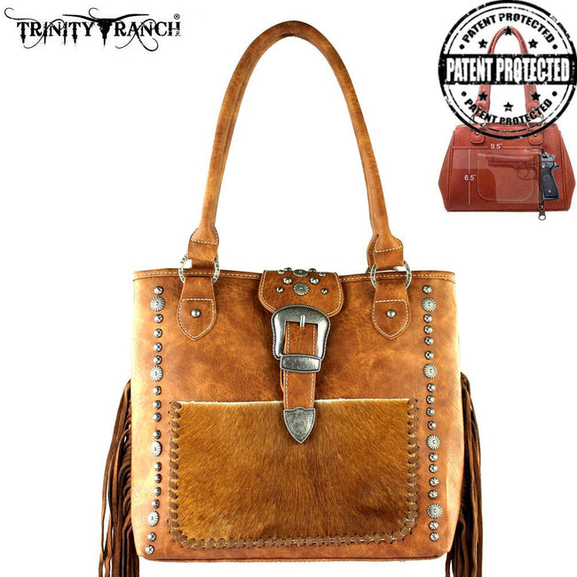 TR35G-8561 Trinity Ranch Tooled Hair-On Leather Concealed Handgun Collection Handbag