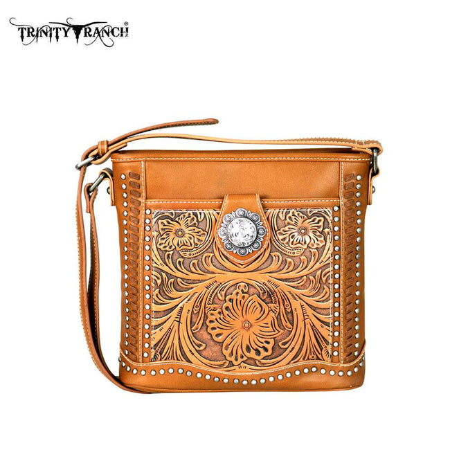 TR50-8300 Trinity Ranch Tooled Collection Crossbody Bag