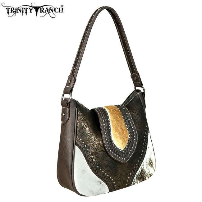 TR56-8291 Trinity Ranch Tooled Hair-On Leather Collection Hobo
