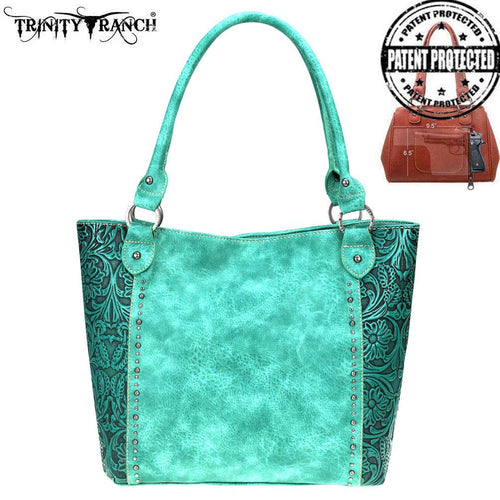 TR68G-8259 Trinity Ranch Tooled Leather Collection Concealed Carry Tote