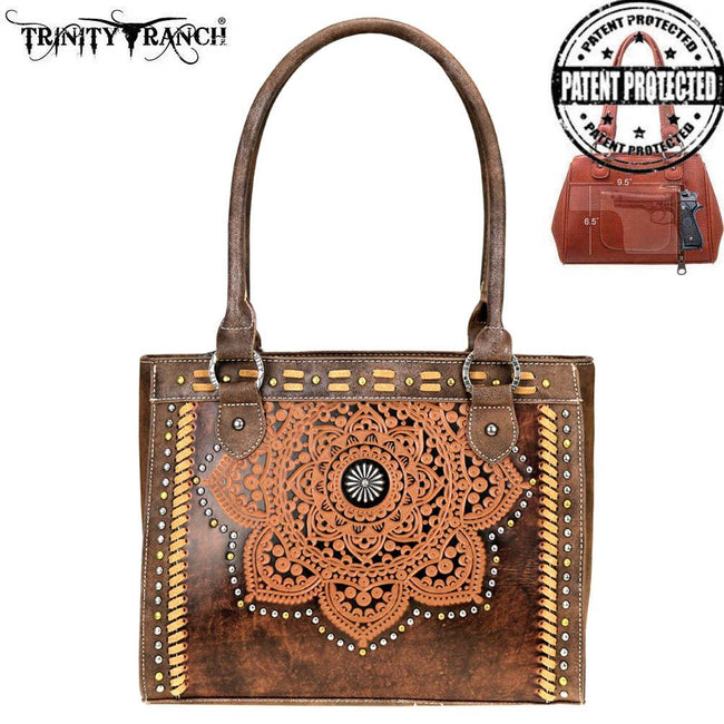 TR71G-8250 Trinity Ranch Tooled Leather Collection Concealed Carry Tote