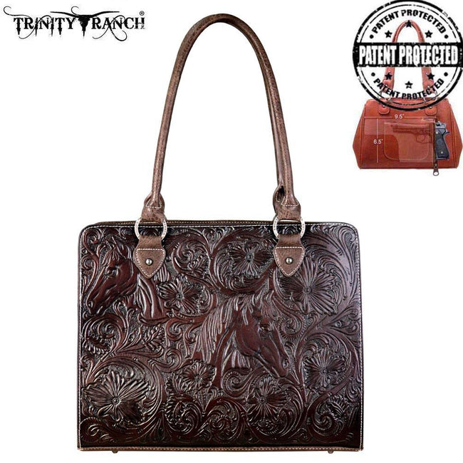TR67G-8307 Trinity Ranch Tooled Leather Collection Concealed Carry Tote