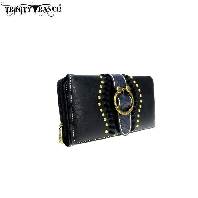 TR82-W010 Trinity Ranch Tooled Collection Secretary Style Wallet