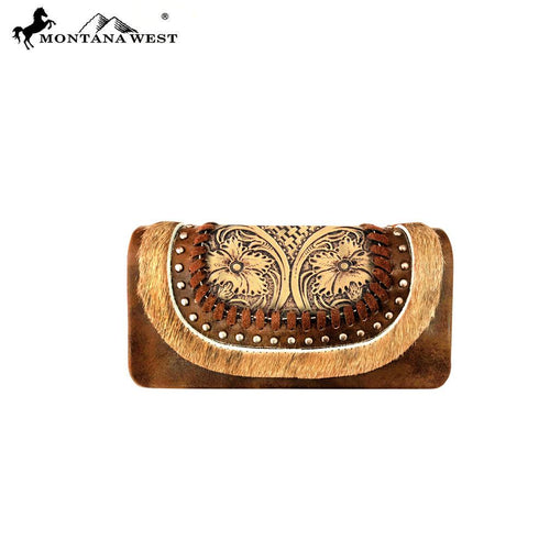 TR90-W018 Trinity Ranch Hair-On Tooled Collection Wallet/Wristlet