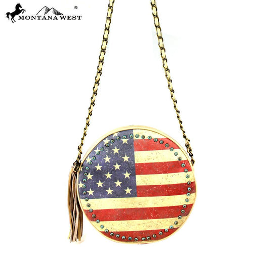 US13-118 Montana West American Pride Round Shaped Shoulder Bag