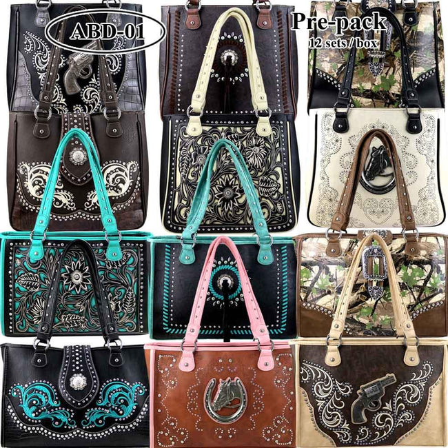 ABD-001  American Bling  Dual Sided (Right & Left Handed Carriers) Concealed Handgun Tote  Pre-pack 12Pcs/Set