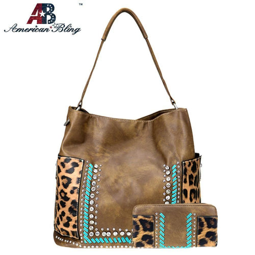 ABS-015 American Bling Safari Collection Hobo and Wallet Set