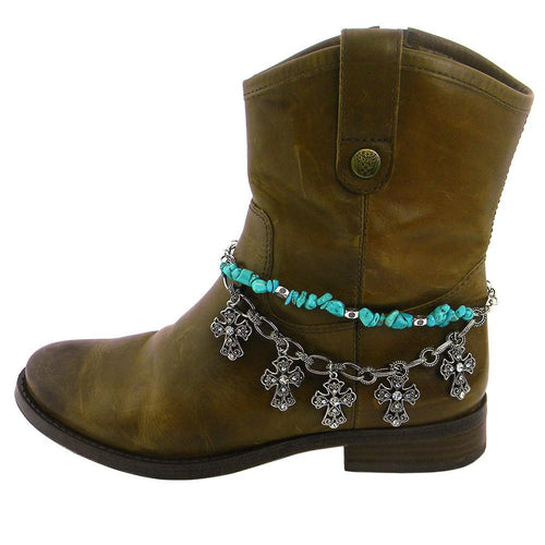 BOT13-0101-66 TQ CHIPS STRING W/RHINESTONE 5-CROSS CHARM BOOT CHAIN