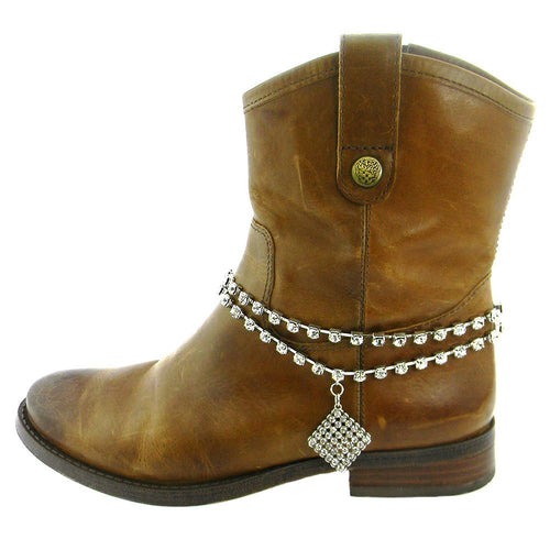 BOT160418-02  2-STRAND CRYSTAL W/DIAMOND SHAPE CHARM BOOT CHAIN