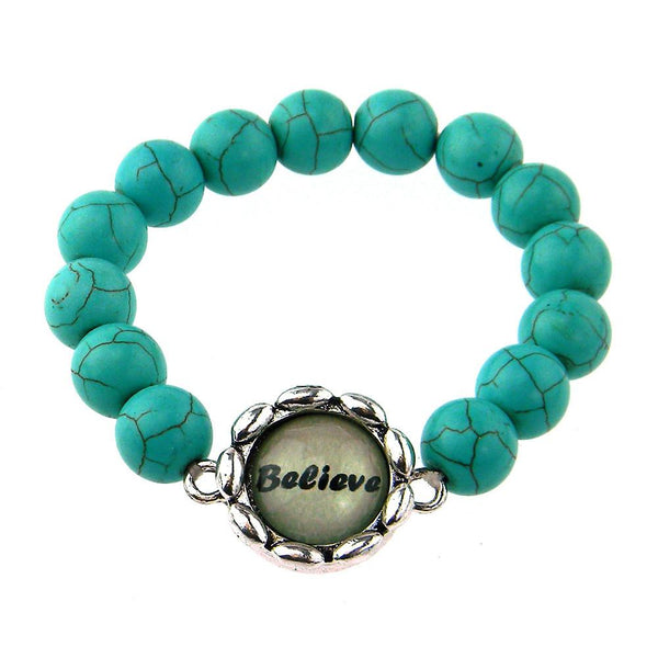 BR161115-02 BELIEVE 8MM TQ BEADS STRECH BRACELATE W/WORD CHARM