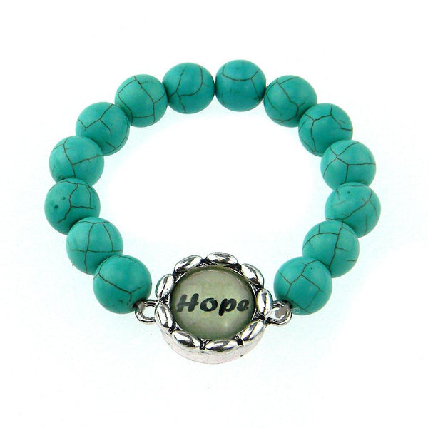 BR161115-02 HOPE8MM TQ BEADS STRECH BRACELATE W/WORD CHARM