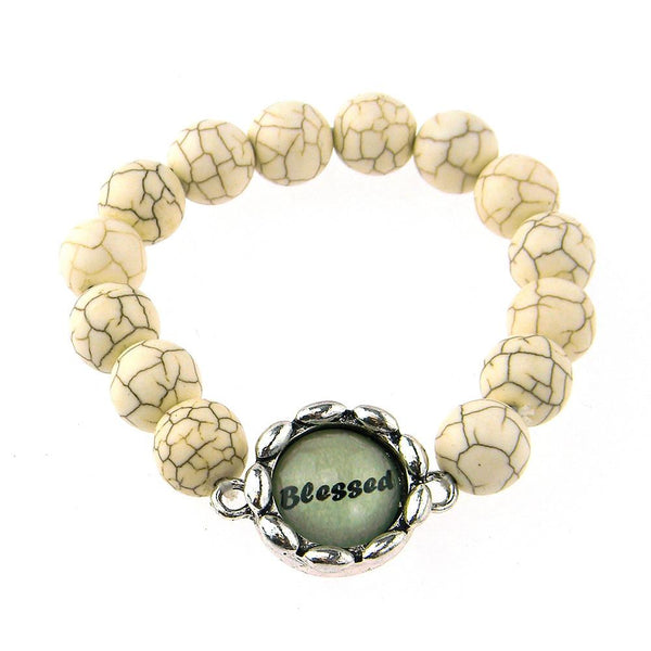 BR161115-03 BLESSED 8MM TQ BEADS STRECH BRACELATE W/WORD CHARM