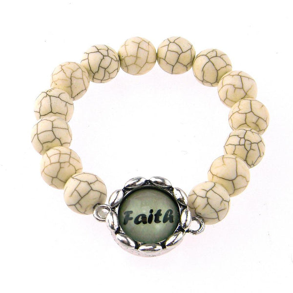 BR161115-03 FAITH  8MM TQ BEADS STRECH BRACELATE W/WORD CHARM