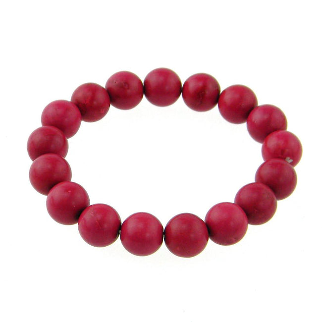 BRS160816-21  12MM DYED RED TQ STRECH BRACELET