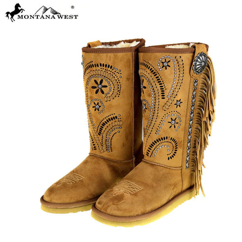 BST-036  Montana West Fringe Collection Boots Brown