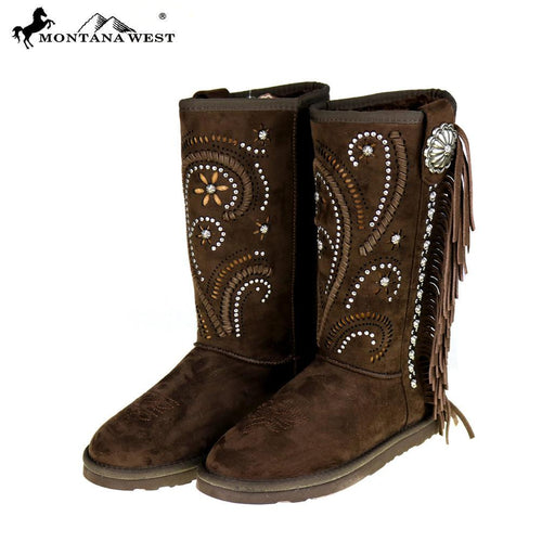 BST-036  Montana West Fringe Collection Boots Coffee