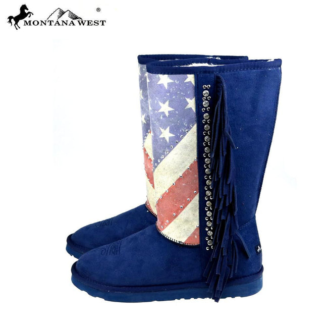 BST-US02 Montana West American Pride Collection Boots -Navy