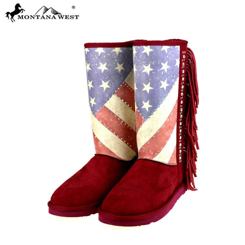 BST-US02 Montana West American Pride Collection Boots -Red