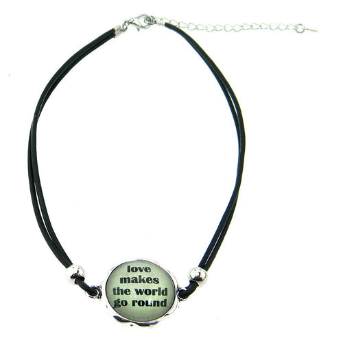 CHY161112-03 BLK LEATHER CHOKER W/WORK CHARM