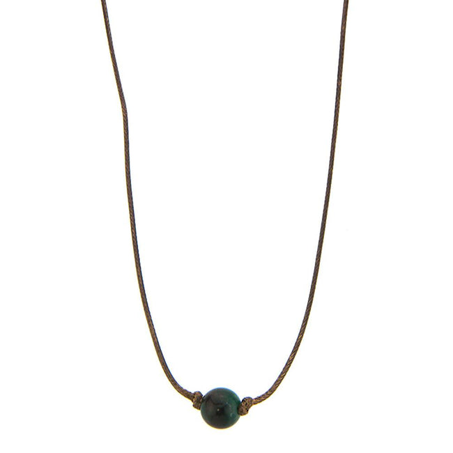 CKZ160710-03  Ocean Jasper Beads Knotted on Sides Cord Choker Dark Brown Cord