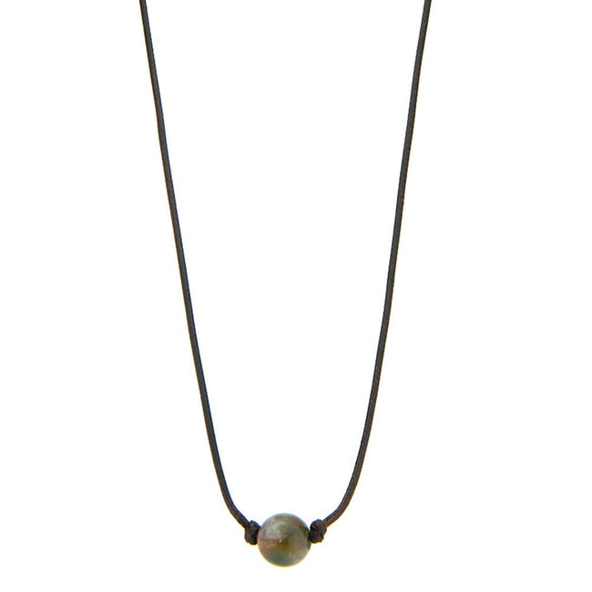 CKZ160710-07  Ocean Jasper Beads Knotted on Sides Cord Choker Dark Brown Cord