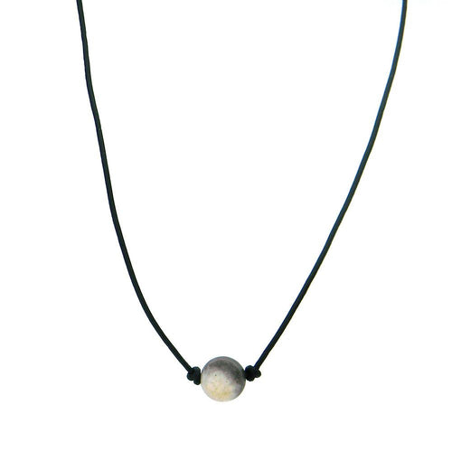 CKZ161009-01 BRN  ONE-AMAZONITE STONE, HAND KNOTTED, LEATHER CHOKER