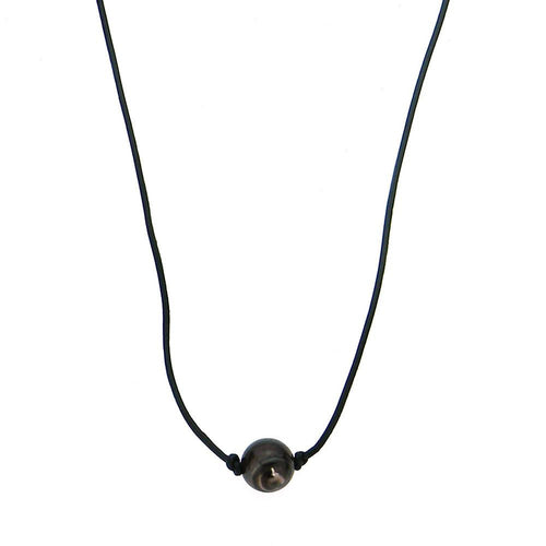 CKZ161009-03 BLK  1-AGATE STONE HAND KNOTTED, LEATHER CHOKER